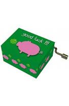 Boite a musique happy birthday good luck cochon