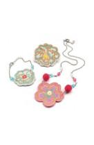 Coffret bijoux : bijoux brodes fleurs
