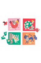 Boite de 4 puzzles animaux : les bambins