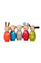 Set 5 personnages bois grande famille
